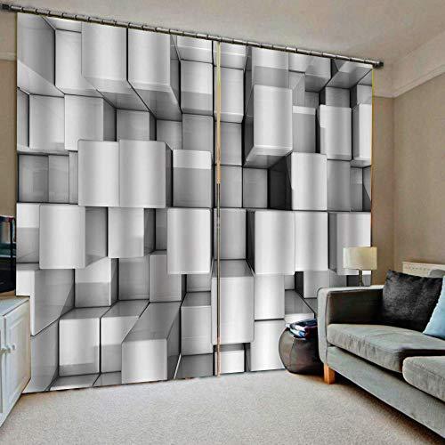 HomeAZWQ Cortina Opaca para Cortinas Modernas Termicas Aislantes Dormitorio Infantil Bebe Niño Niña Patrón De Cubo H215 X W260Cm