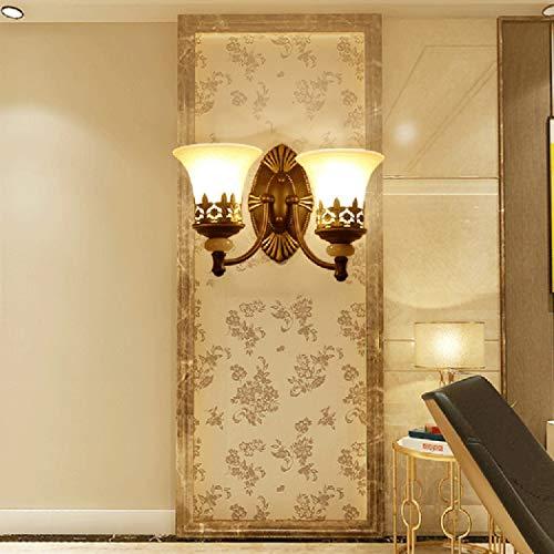 Lámpara De Pared Interior Americana Clásica Dormitorio De La Sala Aplique Decorativo con Pantalla De Vidrio para Pasillo Pasillo Balcón, E27, (29 cm * 37 cm),2