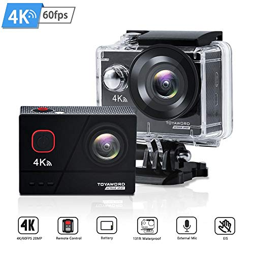 Action Camera 4K 60fps 20MP WiFi Ultra HD 131ft Waterproof Underwater Camera with EIS 2.4G Remote Control 170° Wide Angle Sports Camera with 2 Batteries and Helmet Mounting Accessories Kits