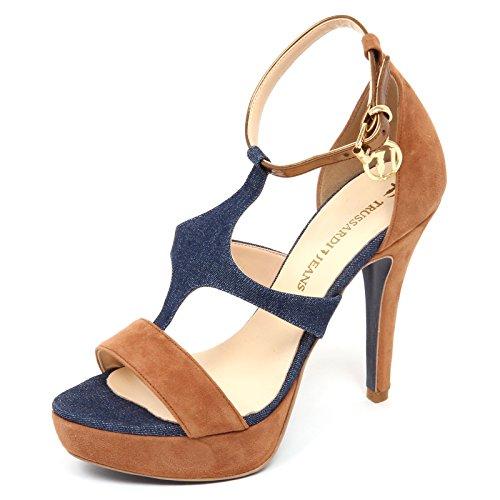 Trussardi D2826 Sandalo Donna Blu Denim/Beige Jeans Shoe Woman [40]