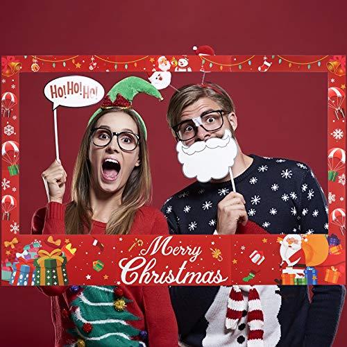 KATOOM Oggetti di Scena per Foto di Natale,Cornici per Selfie Natalizio Buon Natale Cabina Fotografica Oggetti di Scena Riunione di Famiglia Decorazione Fotografica
