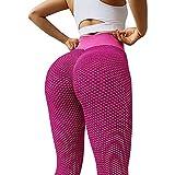 JSSJ 2021 Women Sport Yoga Pants Sexy Tight Leggings, Sexy Shark Scales High Waist Leggings High Waist Yoga Pants (Rose Red, XL)