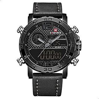 Naviforce Casual Watch For Men Analog-Digital Leather - 9134 B-GY-B