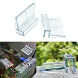 EMVANV 4 clips de plástico para tanque de acuario, clips transparentes para tanque de peces, soporte de cubierta de vidrio, duraderos (6 mm)