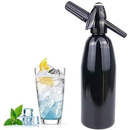 HXZB Soda Siphon Maker Faire Eau Gazeuse, Bouteille Seltzer Portable, Boire du Jus Accueil Beer Bar Siphon Machine, 1 Litre (Charges De CO2 Non Inclus), Noir