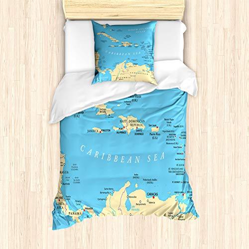 ABAKUHAUS Pasión de Viajar Funda Nórdica, Caribe Capitales Mapa, Decorativo, 2 Piezas con 1 Funda de Almohada, 135 x 200 cm, Azul Marfil