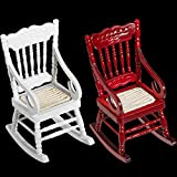 2 Pieces Miniature Rocking Chairs Dollhouse Wooden Rocking Chair 1:12 Wooden Chair Dollhouse Furniture DIY Ornament Kit for Dollhouse Home Decoration Scene Shooting, White and Red