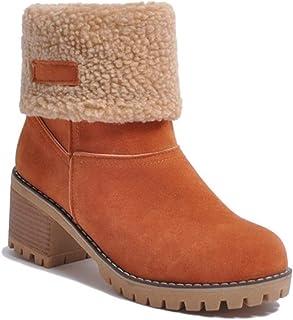 183e1e98c67ba Minetom Femme Bottes de Neige Hiver Chaudes Peluche Bottines Classique Bloc  Talons Ankle Boots Suède Cuir