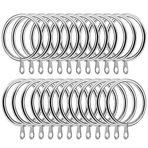 SelfTek 24 Pack Metal Curtain Rings 42mm Internal Diameter Large Curtain Drape Pole Rod Rings Curtain Hanging Rings for Curtains and Rods