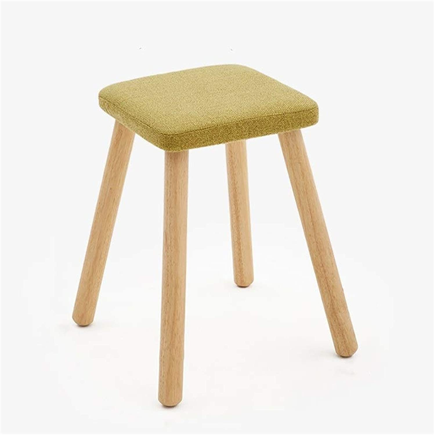 European Chair Fashion Creative Stool, Solid Wood Dining Stool Square Stool Fabric Dressing Stool Home Stool (color   C)