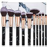 Pennelli Make Up Glamour Gaze 10Pcs Set di Pennelli per trucco in Marmo Set di pennelli per Ombretto Sfumati in Polvere per Fondotinta con Borsa per Cosmetici, Nero