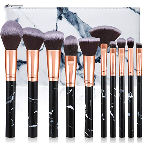 Makeup Brushes, Glamour Gaze 10Pcs Marble Makeup Brush Set Foundation Powder Blush Blending Eyeshadow Brushes Sets with Cosmetics Bag, Black