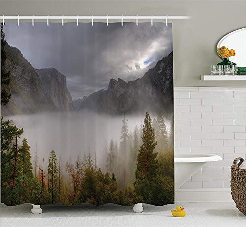 gwegvhvg Rideau de décor de Maison de Ferme mis Yosemite Valley Automne Vue avec des Nuages Sombres Heavy Haze Jour de Pluie Paysage Image Extralong Vert Gris