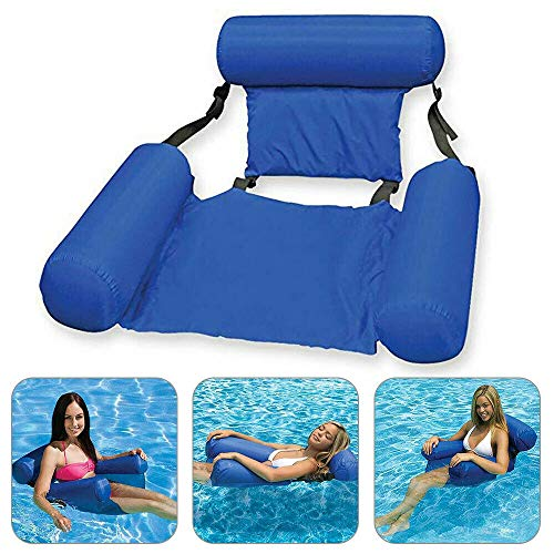 MandoPon Water Chair Inflatable Swimming Pool Float Lounge, Comfortable Inflatable Swimming Pools Lounger Bed for Summer (1 Pack)