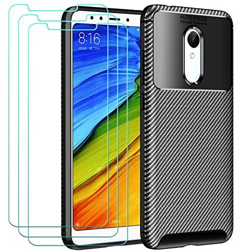 ivoler Hülle mit Panzerglas für Xiaomi Redmi 5 [1 Handyhülle + 3 Schutzfolie], Schwarz Stylisch Karbon Design Anti-Kratzer Stoßfest Schutzhülle Cover Weiche TPU Silikon Hülle