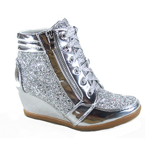 Forever Link Women's Fashion Glitter High Top Lace Up Wedge Sneaker Shoes,Silver,8