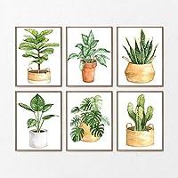 サボテンの緑のポスター植物のモンスターの葉キャンバス絵画家植物壁アートリビングルームの写真家の装飾  30x45cmx6Pcs /フレームなし