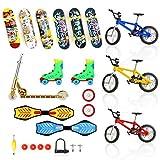 24 Stück Mini Fingerspielzeug Set Fingerskateboards Fahrräder...