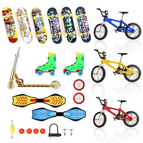 Juego de 24 minijuguetes para los dedos, monopatines de dedos, bicicletas, scooters, tablas de balancín, movimiento de los dedos, para fiestas, juego educativo con ruedas, herramientas para niños