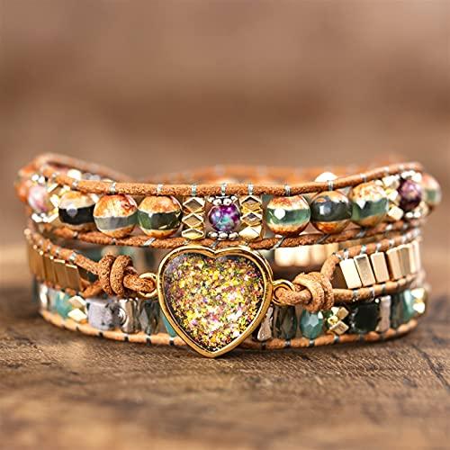 ACEACE Bracelets opales Couple Couple Couple Cuir perlé Triple Pierres Bracelets