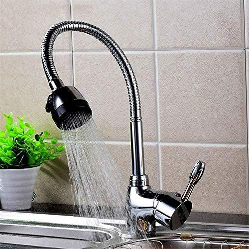 Fregadero de cocina Mezcladores de cocina extraíbles con ducha de mano Caño giratorio de una manija Grifo de lavabo de baño Grifos de agua de latón macizo Fregadero de barra ajustable Grifo de agua fr