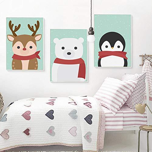 Cartoon Tier in Schal Leinwand Malerei Kunstdruck Poster Bild Wandbilder Kinder Schlafzimmer Kinderzimmer Dekor 40x60cmx3 Ungerahmt