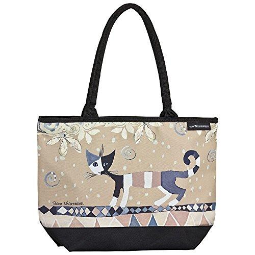 VON LILIENFELD Tasche Damen Henkeltasche Gross Shopper Bedruckt Motiv Kunst Katze Rosina Wachtmeister: Brunello