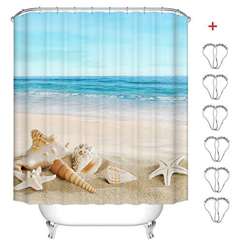 MIN-XL Duschvorhang Anti-Schimmel Textil Waschbar Anti-Bakteriel Badvorhänge 3D Wasserdicht Duschvorhänge mit 12 Edelstahl Duschvorhangringe für Badezimmer (Strand Conch, 180 x 200 cm)