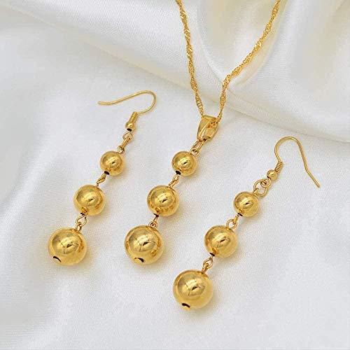 NONGYEYH co.,ltd Collar, Color Dorado, Conjuntos de Joyas de Perlas, 3 Bolas, Colgante, Collar de Cadena, Pendientes para Mujeres, joyería árabe/Africana etíope