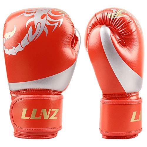 Luniquz Boxhandschuhe - Punchinghandschuhe 4oz 6oz 8oz Kickboxhandschuhe für Kinder Junior Senior Kickboxen, Sparring, Kampfsport, Boxsack, 6OZ Rot