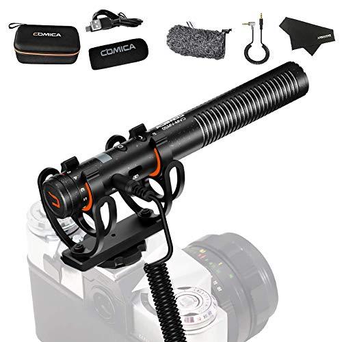 Comica CVM-VM20 Schrotflinte Mikrofon mit OLED-Batterieanzeige,integrierter wiederaufladbarer 300-mAh-Lithiumbatterie mit einer Batterielebensdauer von über 60 Stunden, zwei Low-Cut-Filtermodi