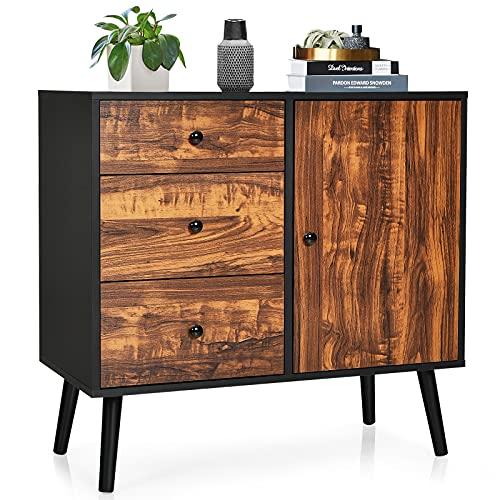 COSTWAY Industrial Storage Cabinet, Freestanding Wooden Bookcase Sideboard with Adjustable Shelf, 3 Drawers and Door, Home Bedroom Living Room Hallway Display Organiser Unit Cupboard