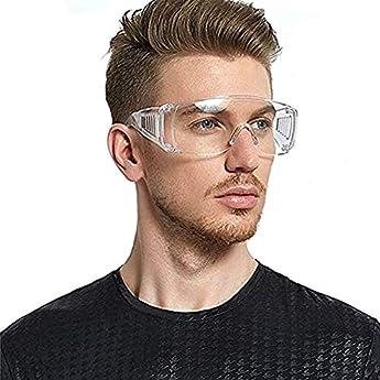 Foto di Occhiali di Sicurezza Protezione, Occhiali Protettivi Resistenti AntiGraffio Agli Schizzi e Anti-Appannamento Antivirus Occhiali Trasparenti Professionali (Occhiali A)