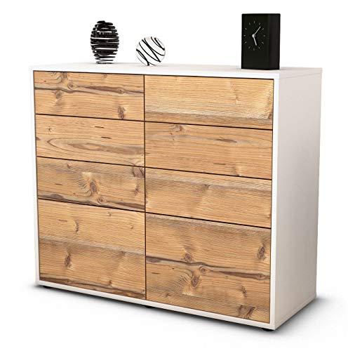 Stil.Zeit Sideboard Celeste/Korpus Weiss matt/Front Holz-Design Pinie (92x79x35cm) Push-to-Open Technik & Leichtlaufschienen