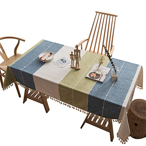 Hunterace Mantel de lino de algodón de dibujos animados colorido rectangular cubierta de mesa para cocina a prueba de polvo de mesa mantel (140 * 220 cm) -5