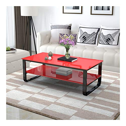 Coffee Table Nordic creativity Square Metal Steel Coffee Table Tempered Glass Storage Shelf Rounded Table for Living Room Sofa Side Side Table (Color : Red, Size : 120x60cm)