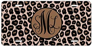 Tobe Yours Text/Name Personalized Custom Monogrammed Leopard License Plate Monogram Car License Plate Gift Tag Auto Front Tag Metal License Plate Cover Frame for Car 6