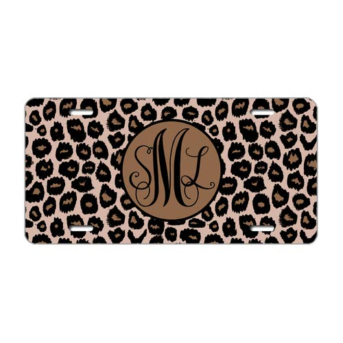 """Tobe Yours Text/Name Personalized Custom Monogrammed Leopard License Plate Monogram Car License Plate Gift Tag Auto Front Tag Metal License Plate Cover Frame for Car 6""""x12"""""""