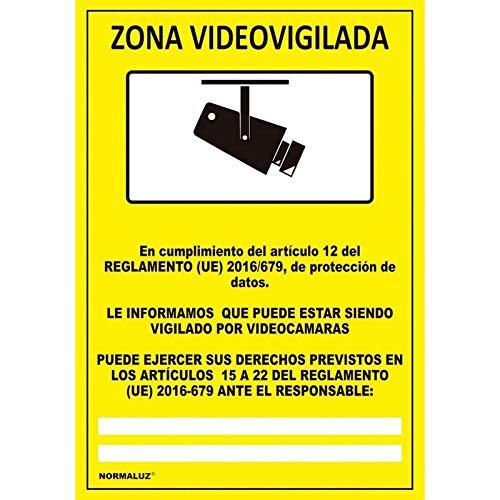Normaluz NM RD36642 - Señal Adhesiva Zona Videovigilada Adhesivo de Vinilo 10 x 15 cm, Amarillo
