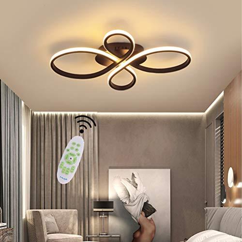 Lámpara de techo para salón de LED Moderna Regulable Mesa de comedor Dormitorio Decor lámpara con mando a distancia diseño Forma de la flor acrílico pantalla colgante para cocina baño marrón L60cm