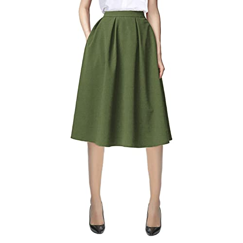 9cceec3a246 Urban CoCo Women s Flared A line Pocket Skirt High Waist Pleated Midi Skirt