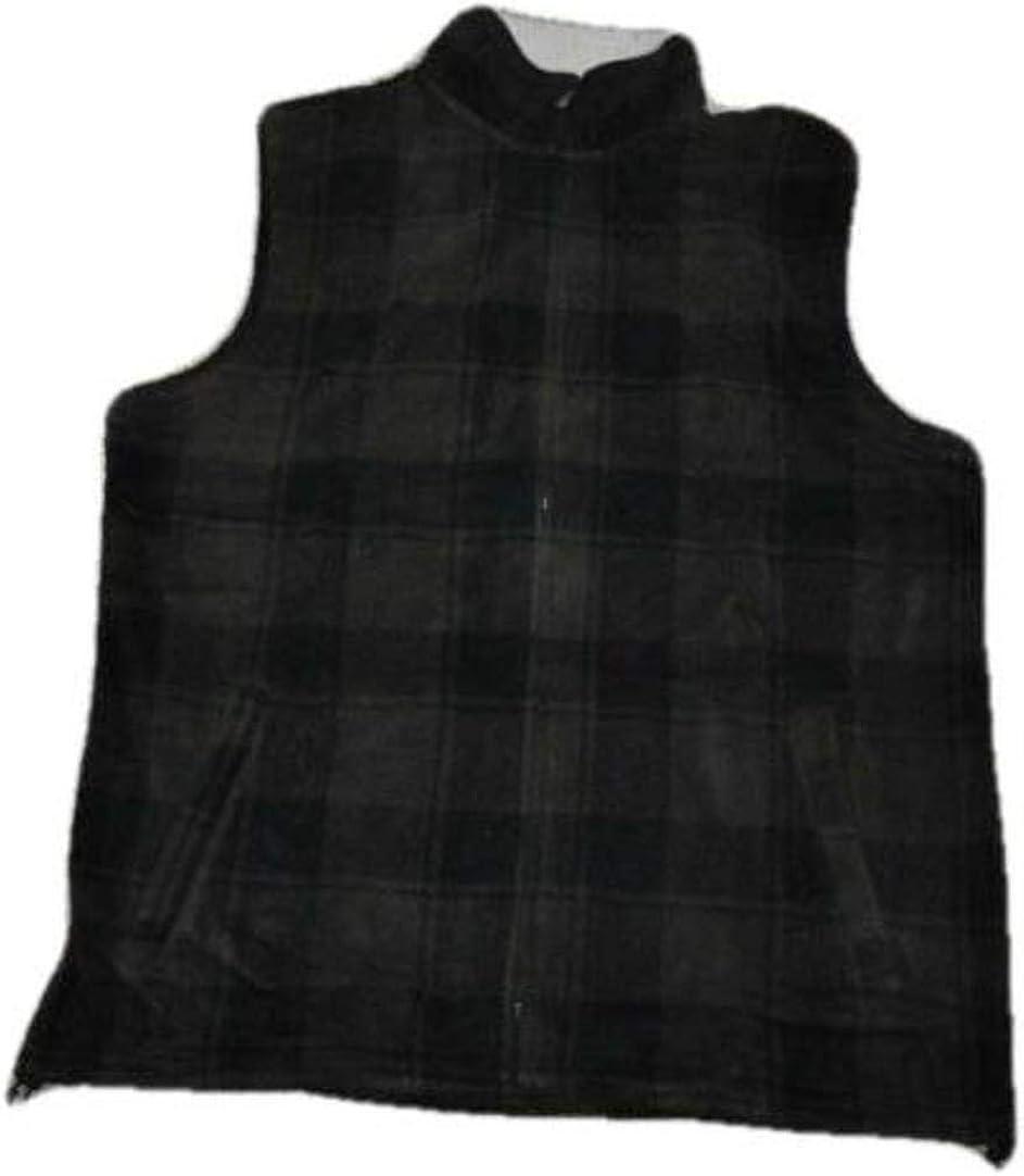 Croft n Barrow Men's Brown & Black Plaid Fleece Winter Vest