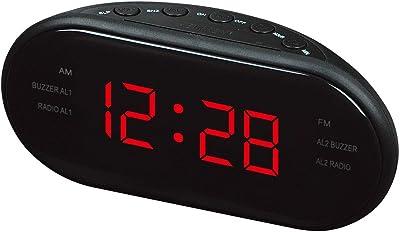 Radio Reloj Despertador LED Reloj Despertador Reloj Despertador Digital con AM y FM Canal Dual Reloj