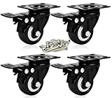 ENJUCOM 2 inch Swivel Caster with Safety Dual Locking Heavy Duty 600Lbs Set of 4 with Brake,150 LBS Per Caster,16 Tapping Screws