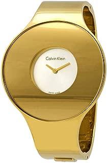 Calvin Klein Seamless Silver Dial Ladies Small Gold-Tone Bangle Watch K8C2S516
