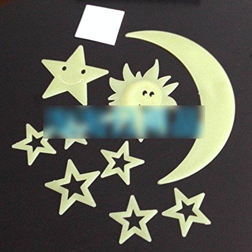 GGG lumineux Soleil Lune Étoiles autocollants stereoskopischer Espace de mur de Autocollants