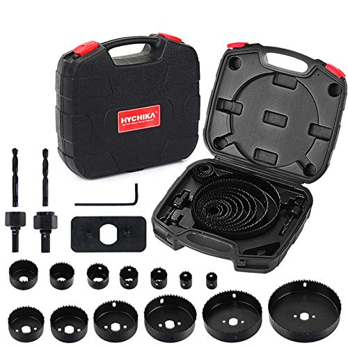 "Hole Saw Set HYCHIKA 19 Pcs Hole Saw Kit with 13Pcs Saw Blades, 2 Mandrels, 2 Drill Bits, 1 Installation Plate, 1 Hex Key, Max Size 6"" and Min Size 3/4"", Ideal for Soft Wood, Plywood, Drywall, PVC"