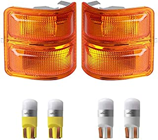 HERCOO Amber Side Mirror Marker Lights Lens w/LED Compatible with 2008-2016 Ford F250 F350 F450 Super Duty Turn Signal Aftermarket Replacement, Qty: 2, Amber & White