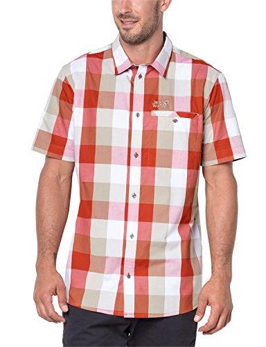 Jack Wolfskin Herren Hemd Fair Ford, kurzärmelig, Größe M, Volcano Red Checks
