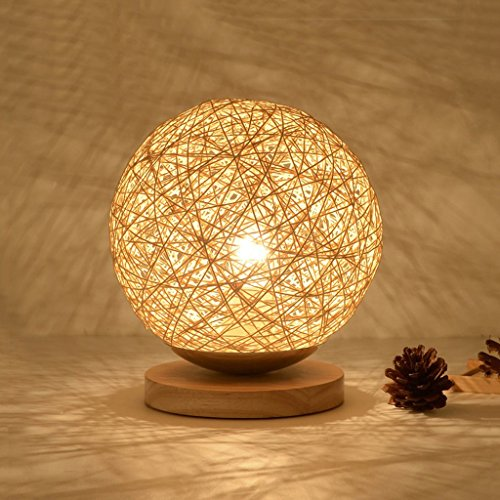 WSHFOR Nordic Creative Hemp Ball Hemp Rope/Rattan Table lamp,Small Desk lamp Bedside lamp, Children Room Lights, Light Brown (Size : S)
